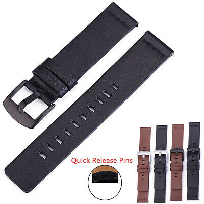 18 20 22 24mm Genuine Leather Band Watch Strap Wristband Belt With Quick Pins