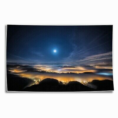 Space night sky HD Canvas Print Painting Home Decor room Poster Wall Art 101218