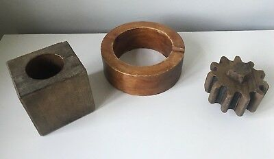 A collection of 3 wooden foundry cast moulds decorative retro antique