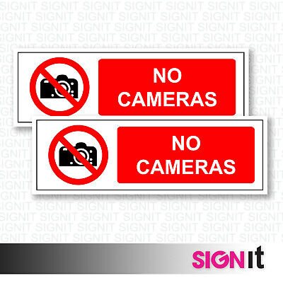 No Cameras - No CamerasSign Vinyl Sticker (50mm x 150mm)