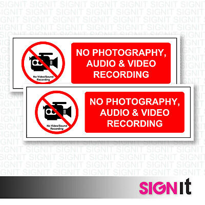 No Photos, Video, Audio - No Recording Sign Vinyl Sticker (50mm x 150mm)