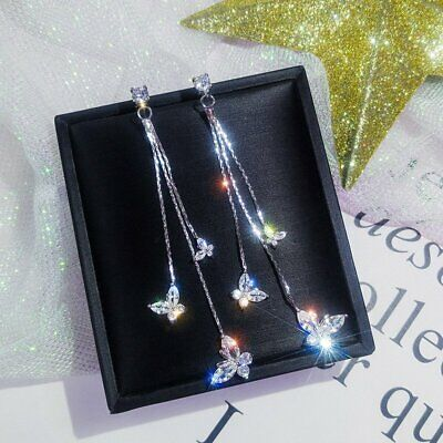 925 silver Wedding Bridal Crystal Butterfly Drop Dangle Long Earrings Jewelry