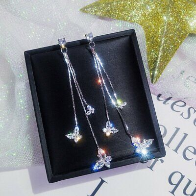 Hot silver Wedding Bridal Crystal Butterfly Drop Dangle Long Earrings Jewelry