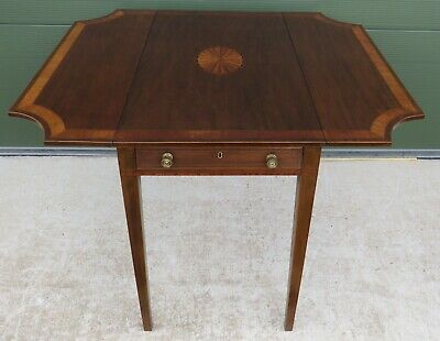 Antique Victorian Inlaid Mahogany Shaped Pembroke Table in the Regency Style