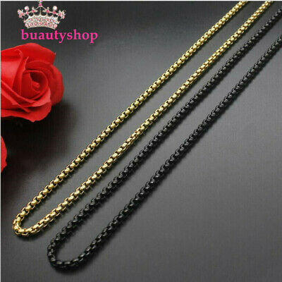 Gold&Black 316L Stainless Steel Square pearl chain necklace For Men/Women Gift