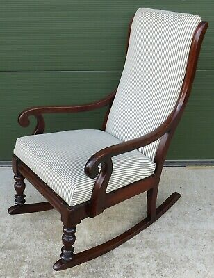 Antique William IV Mahogany Upholstered Scroll-Arm Rocking Chair Armchair