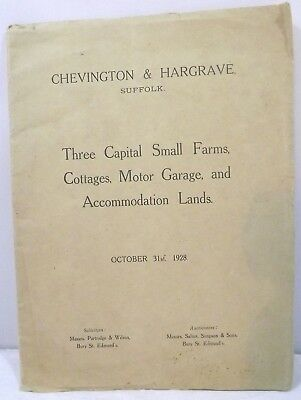 Vintage Auctioneer's Catalogue for Farms & Land in Chevington & Hargrave 1928