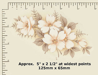 "1 Ceramic decal Decoupage Pastel Floral White flowers Matthey 5"" x 2 1/2"" R33"