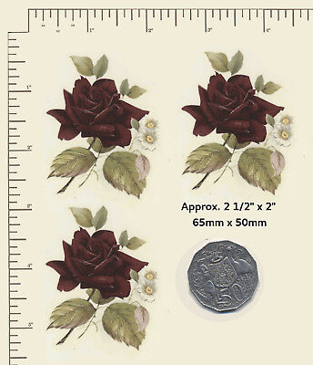 "3 x Ceramic decals Decoupage Burgundy Roses Flowers Floral Approx 2 1/2"" x 2"" A7"