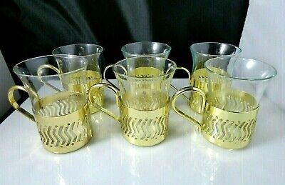 Vintage Clear Shot Glass Set of 6 With Gold Metal Holders Handles Barware Unique