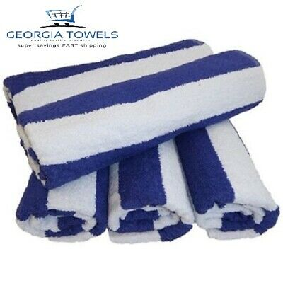 4 New Large Beach, Resort Pool Towels in Cabana Stripe Blue 30x60