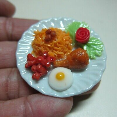 Fried Rice Breakfast  on Plates Dollhouse Miniatures Food Supply Deco Barbie