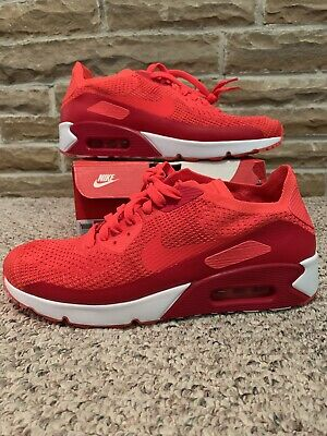 separation shoes 4b46d 8f952 NIKE Men s Air Max 90 Ultra 2.0 Flyknit Bright Crimson 875943 600  160 sz 11