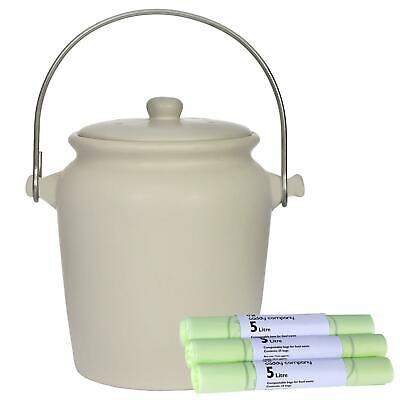 Garden Trading Ceramic Compost Caddy/Food Bin–Off-White–3.5L & 75 x 5L Bags