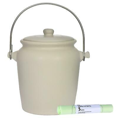Garden Trading Ceramic Compost Caddy/Food Bin–Off-White–3.5L & 25 x 5L Bags