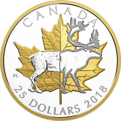 18359 2018 'Caribou-Timeless Icons' Piedfort Prf $25 Silver Coin 1oz .9999 Fine