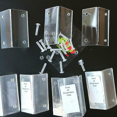 10 x Large Angled L Brackets, Corner, Clear Transparent Perspex Acrylic + Bolts