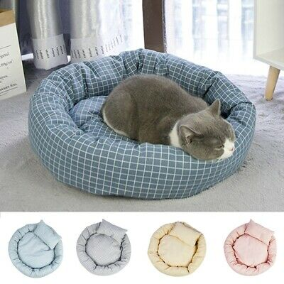 Pet Kennel Bed With Pillow Round Dog Cat Mat Comfortable Kitten Puppy Cushion