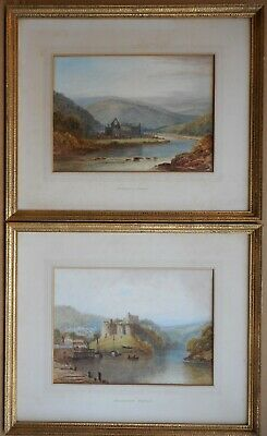 Chepstow Castle & Tintern Abbey. PAIR Watercolour by listed artist V Allan c1930
