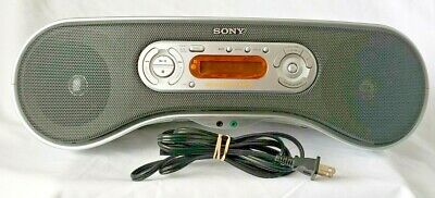SONY ZS-SN10 Mega Bass Silver Portable Boombox Radio MP3 CD Player TESTED!