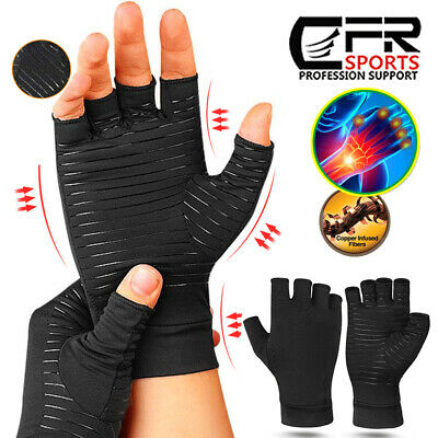 Arthritis Gloves Fingerless Medical Support Therapeutic Copper Compression Fit H