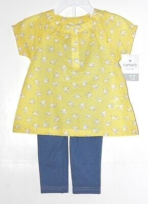 e2ff9376a Carter's 2-Piece Set Top Pants 12M Yellow Baby Girl Short Sleeve Leggings  Birds