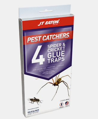 New!! JT Eaton PEST CATCHERS Glue Traps For SPIDERS & CRICKETS Indoor 4 Pack 844