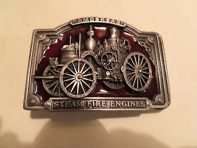 Vintage Belt Buckle 1985 Bergamot Brass Works Enamel Amoskeag Steam Engine