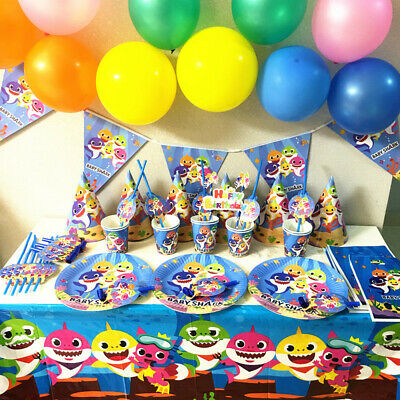 Baby Shark Kids Birthday Party Supplies Favor Tableware Decor Plates Tablecloth
