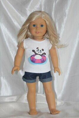 Doll Clothes fits 18inch American Girl Dress Outfit Shorts Shirt Hearts Panda