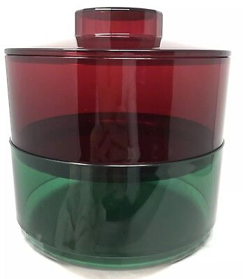 Tupperware Preludio Bowls 2 Tier Jeweltone Acrylic Red Green Candy Dish New