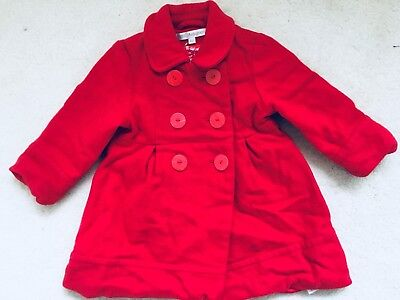 Baby Girls Red Double Breasted Coat Age 12-18 Months From M&S