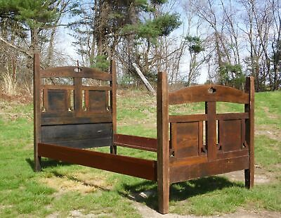 Antique Arts & Crafts Mission Style Oak 1/2 Poster Twin Panel Bed Rustic