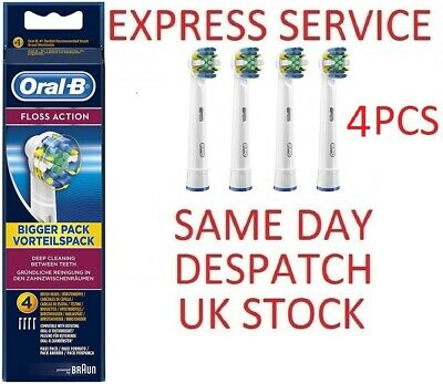 BRAUN Oral-B FLOSS ACTION 4 PCS Electric Toothbrush Replacement Heads GENUINE