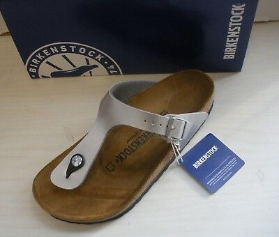 705cd207d Womens Birkenstock Gizeh Thong Sandals - Birko-Flor- Silver - 043851 -New