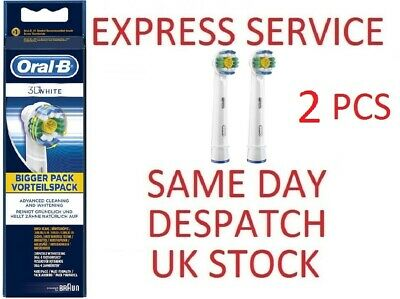 BRAUN Oral-B 3d WHITE 2 PCS Electric Toothbrush Replacement Heads GENUINE