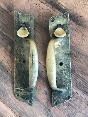 Pair Antique Door Handles Old Suffolk Forge Brass Thumb Pull Latch 2