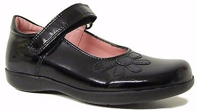 Petasil Danny Girls Patent T-Bar School Shoes with Buckle fastening