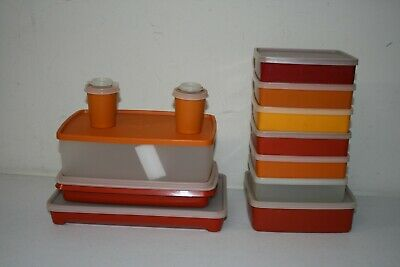 Lot of 12 VTG Tupperware Square Sandwich Keepers w/ Lids Harvest Sheer Picnic