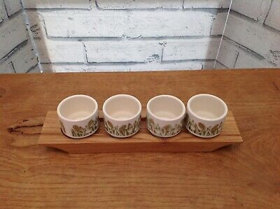 4 x Hornsea Fleur Egg Cups Sara Vardy Set on Wooden Stand  70s  Exc Condition