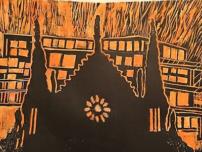 2019 Woodcut - Cathedral Of Notre Dame - The Night Of The Fire