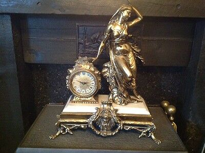 Antique French Ormolu Empire Goddess Bronze Marble Barrel Mantel Clock