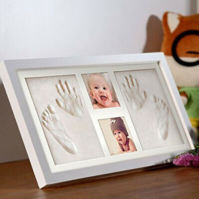 Both DIY Footprint Remember The Birth Hand Baby Memorial Set Photo Frame Wooden