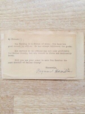 Raymond Hamilton Signed  Letter Bonnie and Clyde , Smoot Schmid