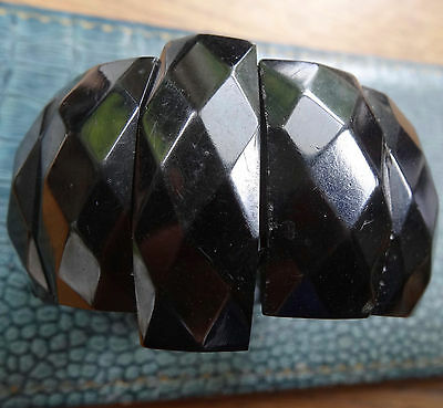 antique Victorian WHITBY JET wide chunky carved panel bead mourning bracelet -D1