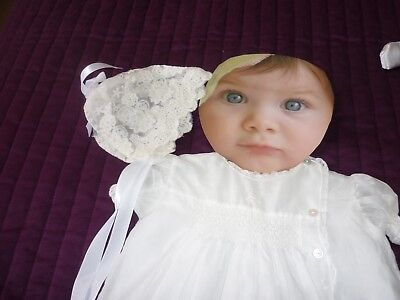 NEW!!!SMOCKED WHITE REBORN or BABY DOLL DRESS SET( PETTICOAT,BONNET..50 cm+SIZE!