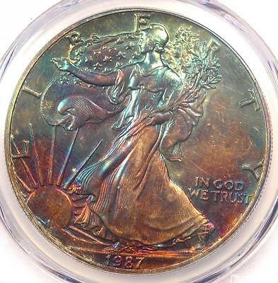 1987 Toned American Silver Eagle Dollar $1 ASE - PCGS MS65 - Rainbow Toning Coin