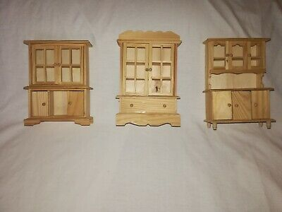 Vintage Dollhouse Miniature Unfinished Wood Handmade 3 pc Cabinets /Armoire