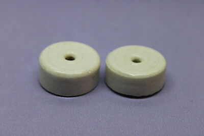 Lot of 2 Vintage 1920 White Porcelain Turn Rotary Switch Knob - 1920 - Steampunk