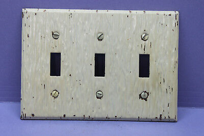 Distressed Ivory Metal 3-Gang Toggle Switch Cover Wall Plate Switchplate, Screws